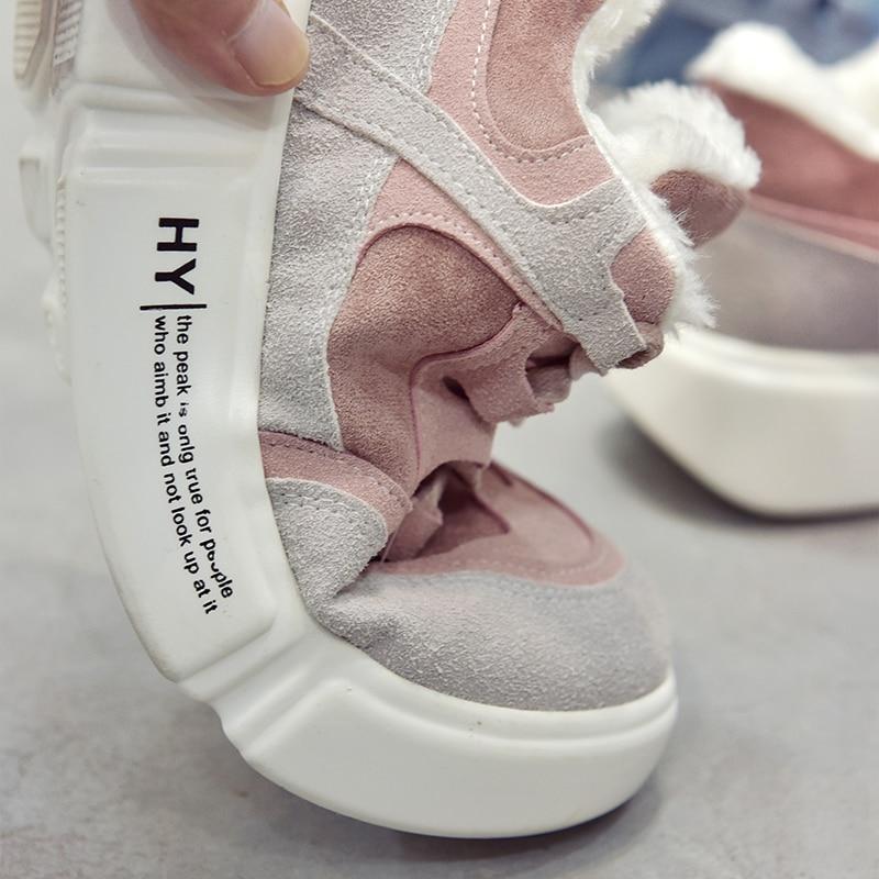 Dames Hiver Femme Chaussure Peluche Bleu En Fourrure Chaussures De Occasionnel Femmes Formateurs Plate Papa Sneakers forme Rose rose fqx18Owf