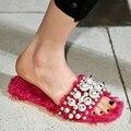 Nova marca de moda pérola sólido plano com mulheres lã de Slides estrela de hollywood de peep toe sandálias sensuais causal chinelos inverno quente sapatos