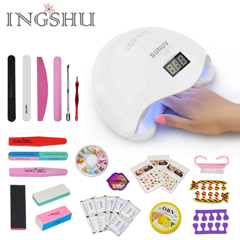 INGSHU SUN5 48W Dual UV LED Nail Lamp With LCD Display Professional Nail Dryer Curing Nail Tools for All UV Gel Nail Polish