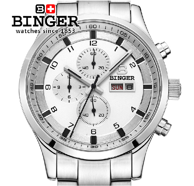 Switzerland watches men luxury brand Wristwatches BINGER Quartz full stainless leather strap steel waterproof 300M BG-0403-2