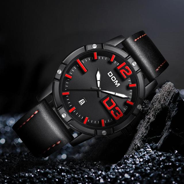 DOM Men's Casual Leather Business Calendar Date Display Waterproof Quartz Watches 2