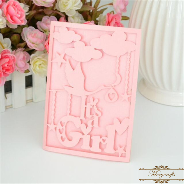 Welcome new baby invitation card laser cut boy girl for baby shower ...