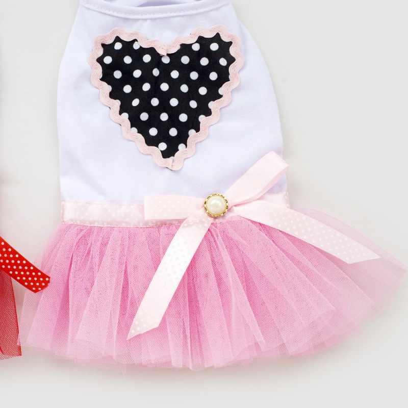 Новое платье для собаки мягкий Кот принцесса дизайн сердечко любовь футболка для питомца щенка юбка одежда собачье свадебное платье подарок на день рождения для девочки