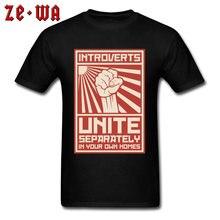 Feminisme T Shirts 3D Gedrukt 100% Katoen Crewneck Mannen Tshirt Introverts Unite Afzonderlijk In Uw Eigen Woningen Gratis Verzending