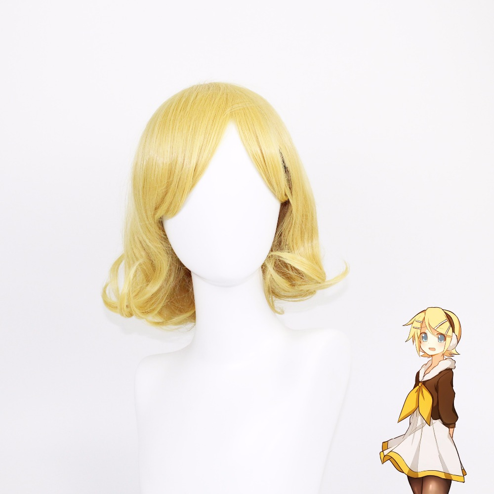 VEVEFHUANG Vocaloid Kagamine Len Rin High Quality Cosplay Wig Heat Resistent Synthetic Hair Cos Wigs Peruca