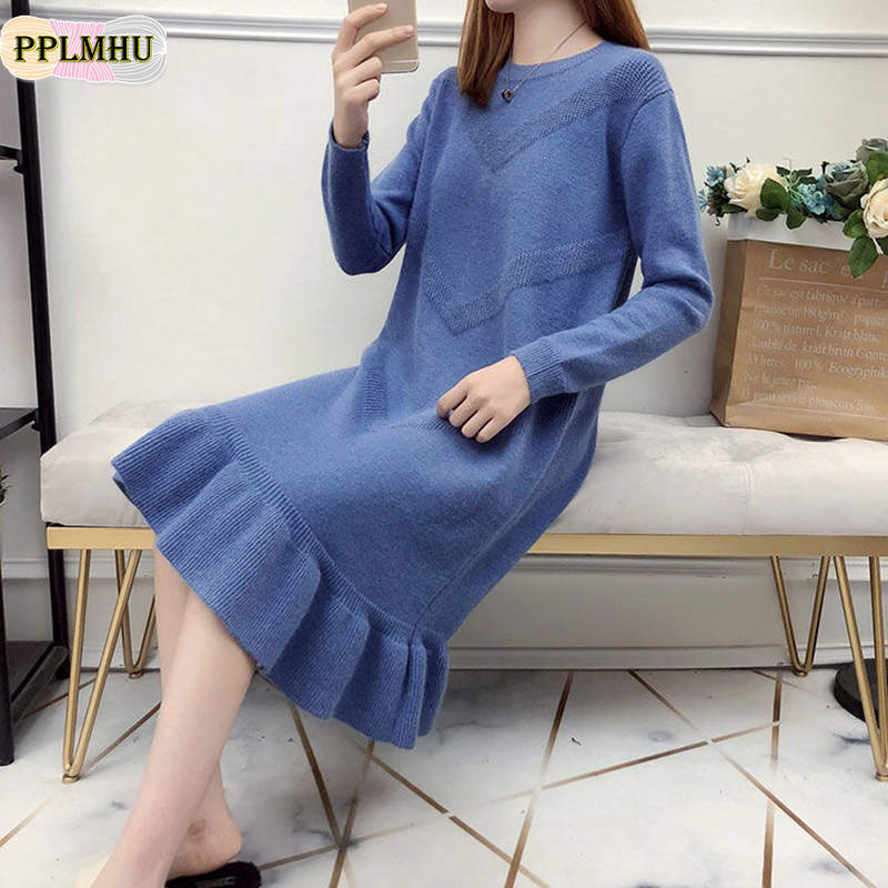 New Ruffle Loose Sweater Dress Autumn Winter 2019 Casual Long Sleeve Bodycon Dresses Ladies Plus Size Knitted Trumpet Dress