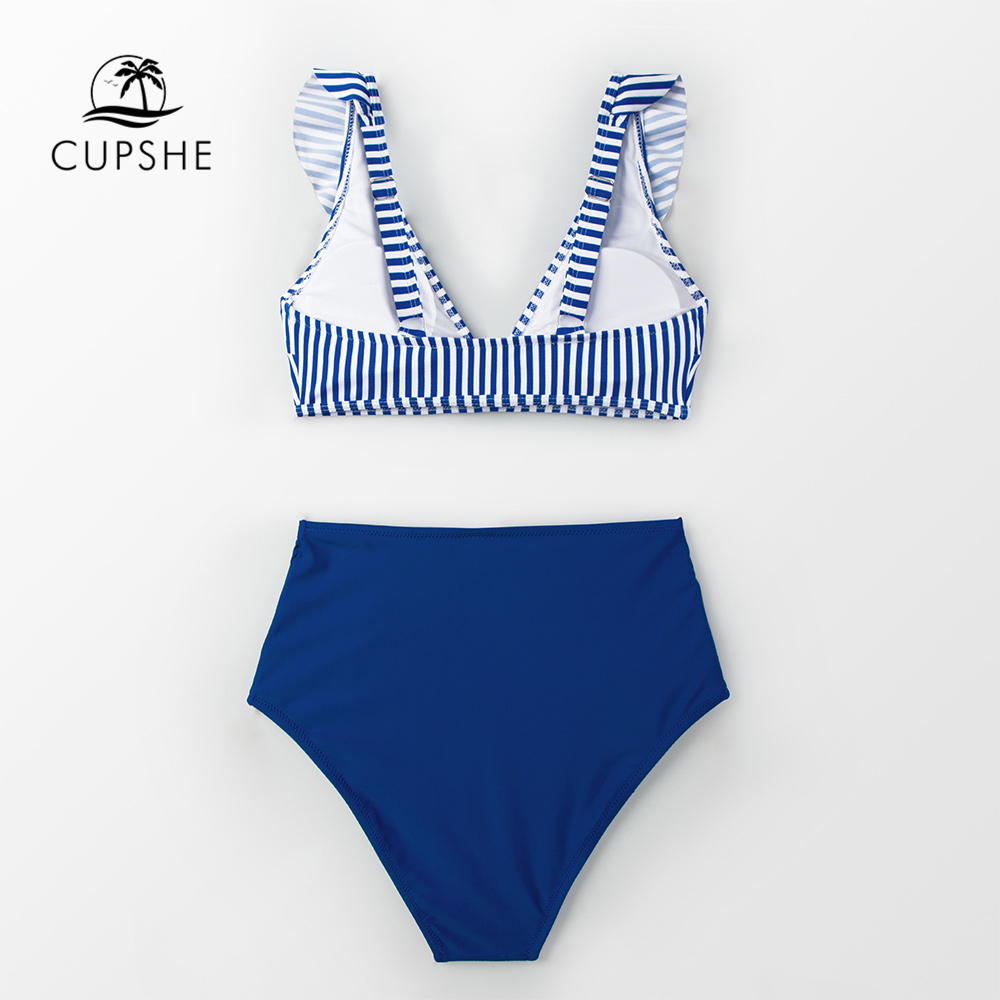 CUPSHE Sexy Blue Striped And High-waisted Ruffles Bikini Sets Women Cute Two Pieces Swimsuits 2020 Girl Beach Bathing Suits 4