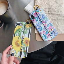 sunflower wristband silicon case for iphone XR XS MAX  7 8 6S 6 plus X cover fashion 3d flower floral holder soft phone bag