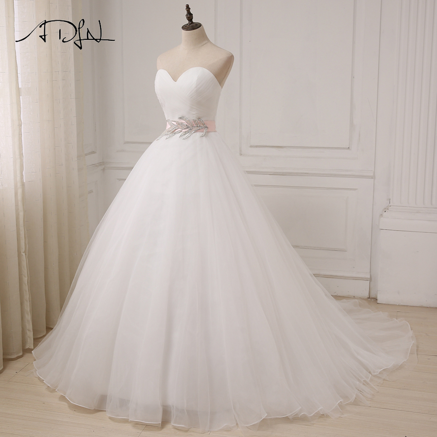 White/ivory Sweetheart Sleeveless Ball Gown Tulle Sahshes Pink Wedding Dress