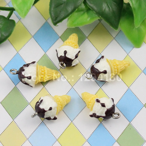 50pcs/lot Resin Cute Ice cream Cone Pendants & Charms For Children DIY Jewelry Necklace & Bracelet Accessories 21x12mm (K00663)