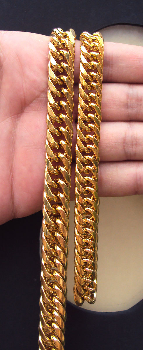 MENS HEAVY GOLD GF CUBAN LINK CHAIN BRACELET NECKLACE SET Real people - Fashion Jewelry - Photo 2