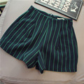 2017 New Arrival Winter Spring High Wasit Women Striped Shorts Office Lady Elegant ShortsBlack Gray Quality Guarantee MP038