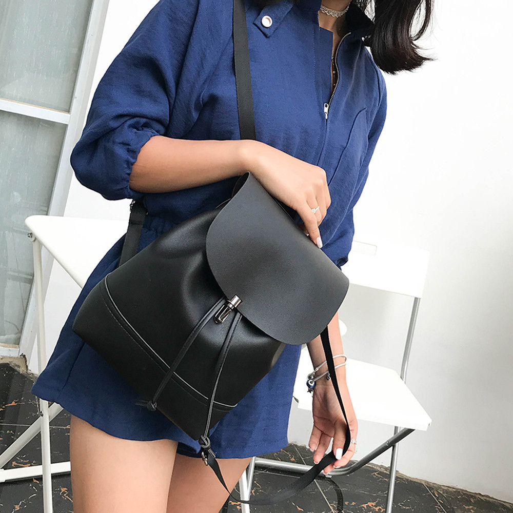 Fashion Vintage Pure Color Leather Simply School Bag Backpack Satchel Women Trave Shoulder Bag Mochila Feminina HW
