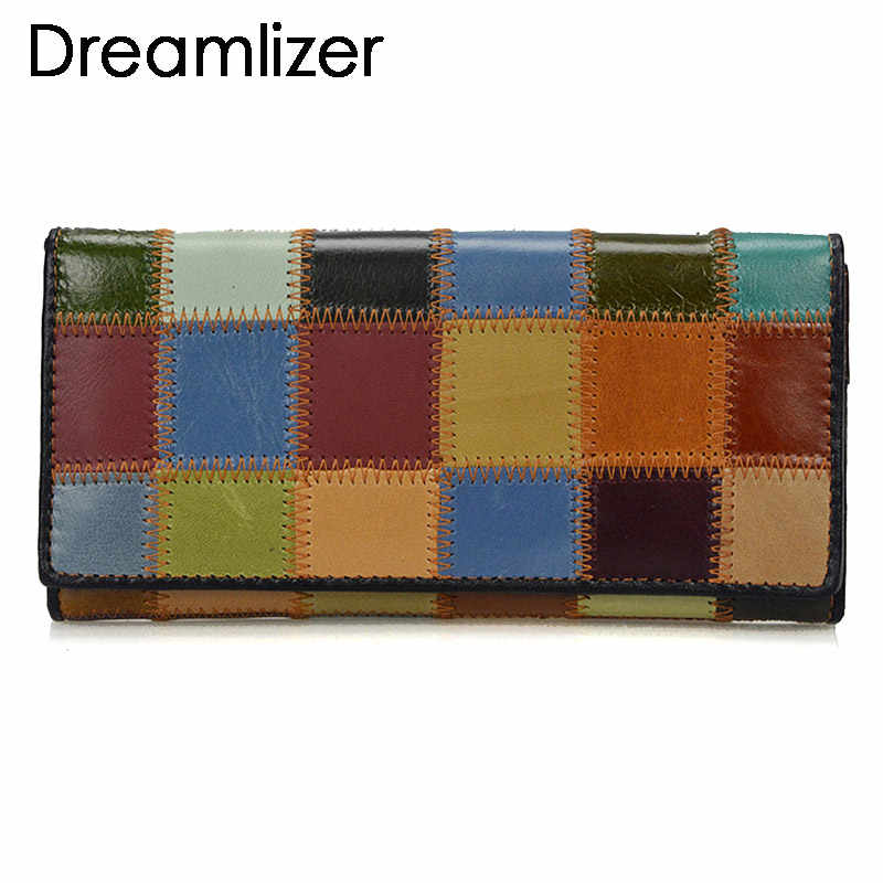 Dreamlizer 2019 New Fashion Patchwork Women Wallets Long Genuine Leather Purse Female Colorful Female Day Clutch Zipper Bags