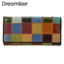 Dreamlizer 2017 New Fashion Patchwork Women Wallets Long Genuine Leather Purse Female Colorful Day Clutch Zipper Bags