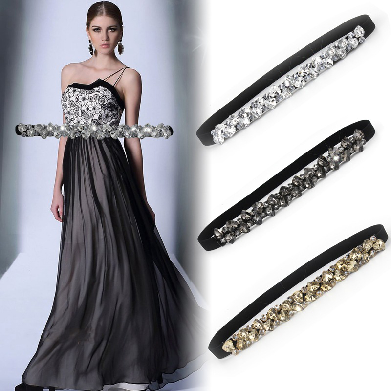 Fashion Women Elastic Corset Belt For Women Glass Crystal  Ladies Thin Rhinestone Inlaid Belt Narrow Waist Girdle Ceinture C70