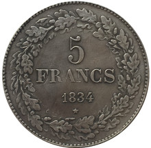 1834 Belgium 5 Francs Silver Coins Copy(China)