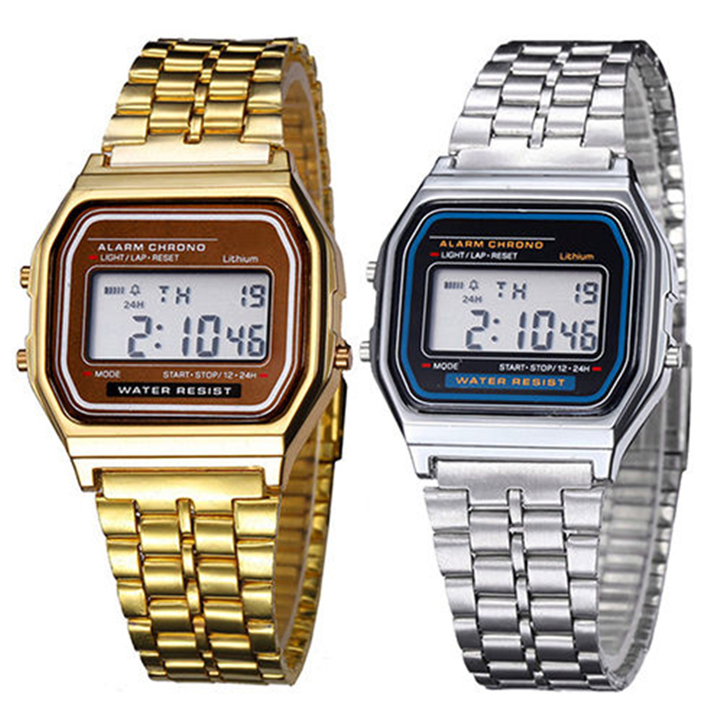 2019 Digital Watches New Fashion Gold Silver Wrist Square Classic Men Women Retro Stainless Steel LCD Sports