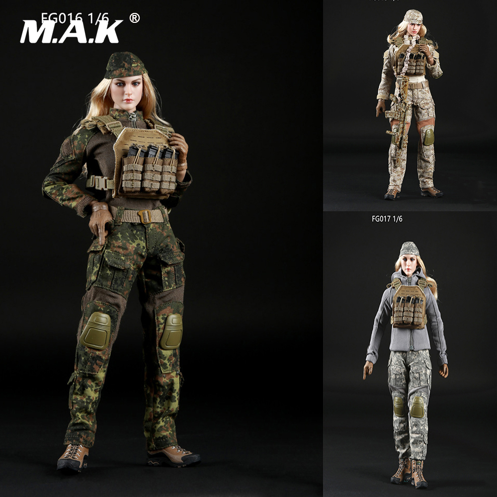 FG015/FG016/FG017 1/6 Scale Female Clothes Suit Set Tactical Shooter Camouflage Suit Costume fit 12 inches Phichen Action Figure 1 6 scale female batgirl suits clothes mask set for 12 inches female action figure accessories