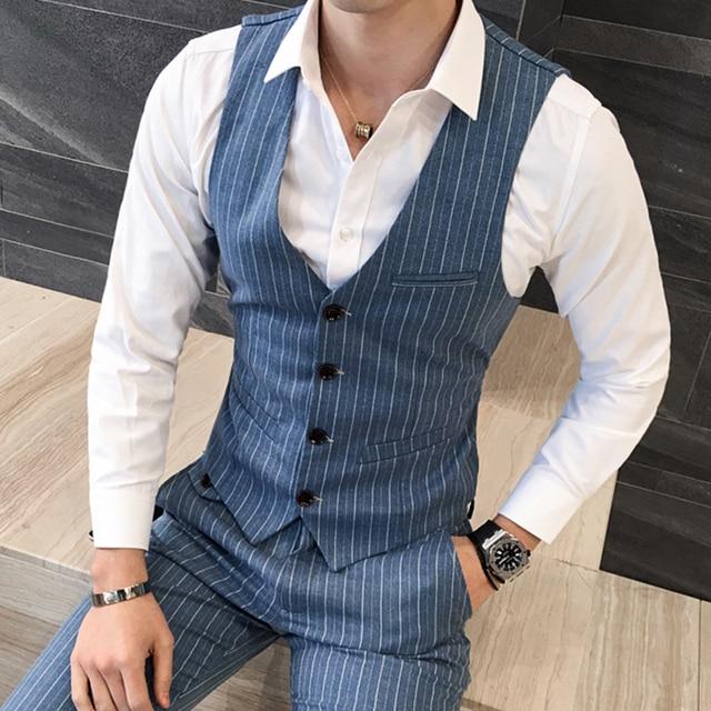 Quality Mens Dress Vest British Style Stripe Slim Fit Chaleco Hombre Men Vest Single Breasted Casual Gilet Waistcoat Men 5XL-M