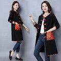 2017 nueva primavera vintage clothing plus tamaño de las mujeres de algodón de lino estilo folk étnico botones largo trench coat jacket 1612