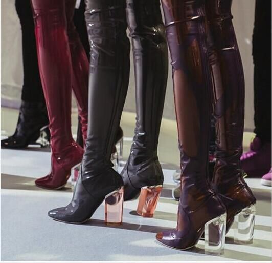 f6fd7781a8e 2016 fashion women patent leather boots thigh high tall gladiator booties over  knee high boots clear heel point toe dress shoes