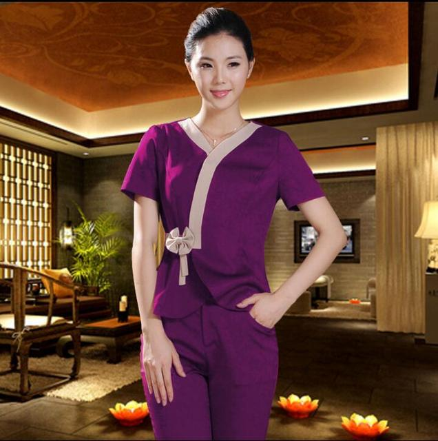 2018 summer short sleeve thai massage uniforms women for Uniform thai spa