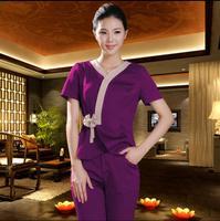 2018 Summer Short Sleeve Thai Massage Uniforms Women Beauty Salon SPA Hotel Foot Bathtub Professional Work Set Uniform