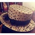 2014 NEW summer female sun-shading straw hat black dot gauze bowknot decoration fedoras straw cap