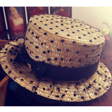 2014 nova verão feminino sun shading chapéu de palha ponto preto gaze  bowknot decoração fedoras tampão e0f51801f68