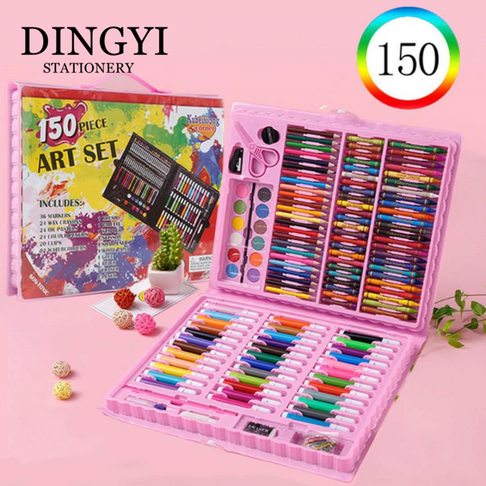 DINGYI 150 PCS Watercolor Marks Crayons Oil Pastels Pencils Painting Tools Drawing Set Art Supplies Stationery Set Kids Gift
