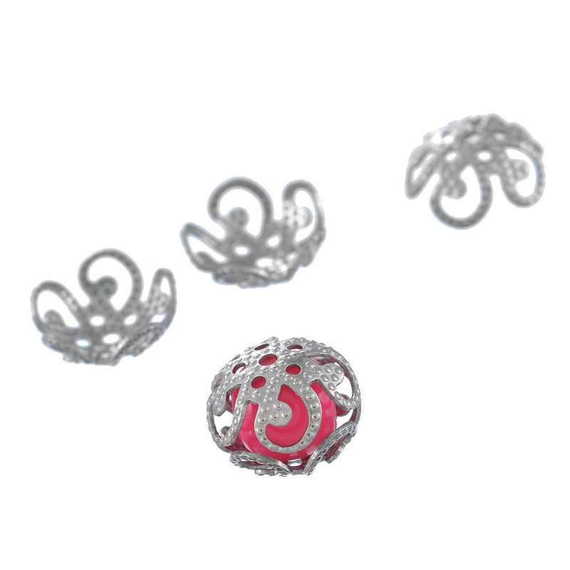새로운 패션 쥬얼리 찾기 스테인레스 스틸 구슬 모자 중공 꽃 모양 DIY 쥬얼리 실버 8mm/10mm, 20PCs