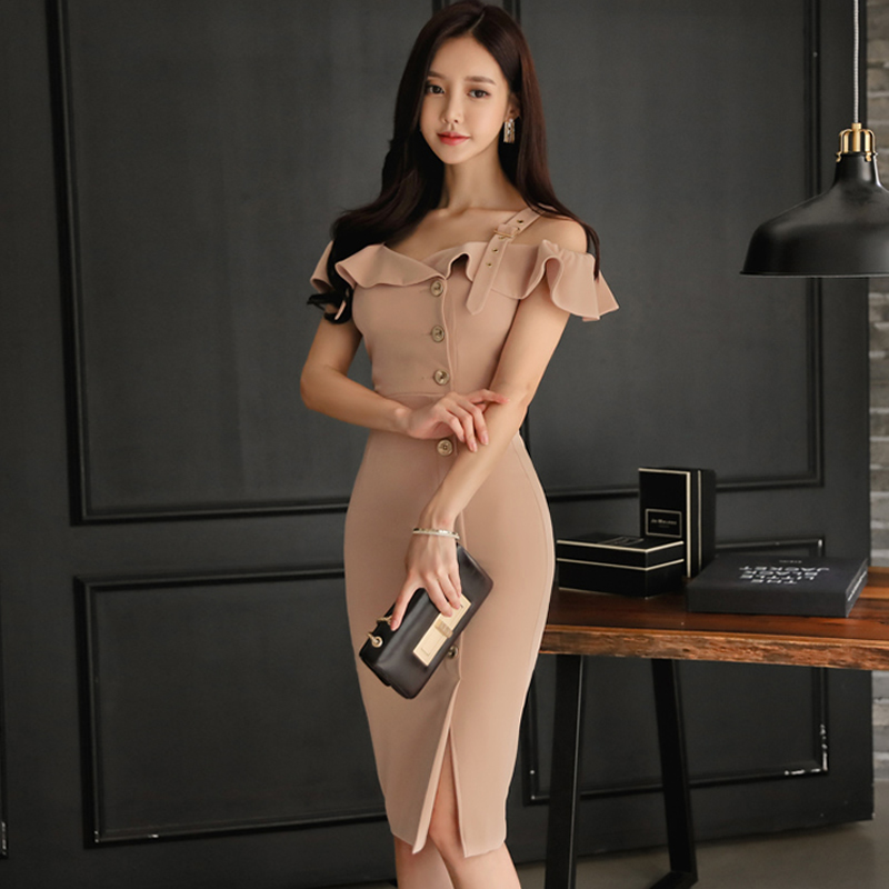 2018 Summer OL Ruffles Strap Dress Off Shoulder Slim Single Breasted Bodycon Midi Cloth Women Sexy Sheath Party Dress