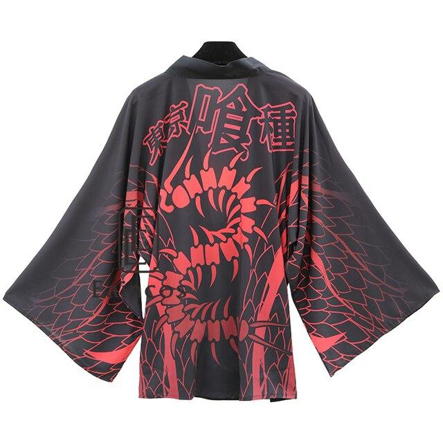 Tokyo Ghoul Kaneki Ken Black Kimono Cosplay Party Costume