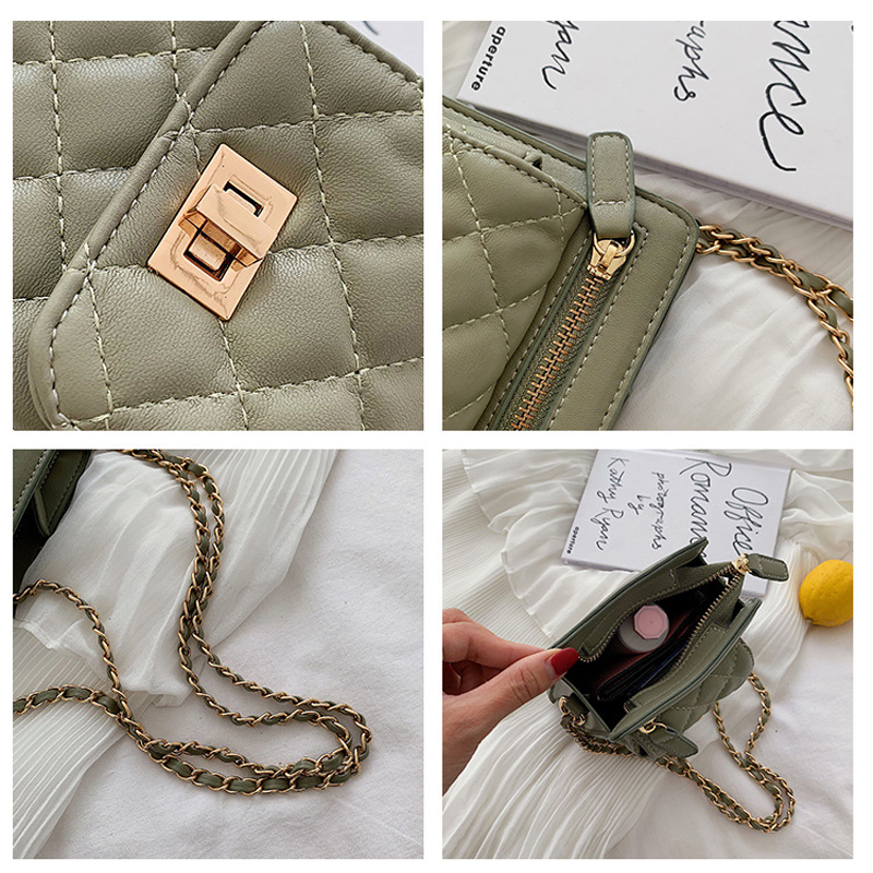 MSGHER Shoulder Bags Women Summer Female Chain Small Bags Casual Diamonds Lattice Saddle Bags Quality Messager Bags