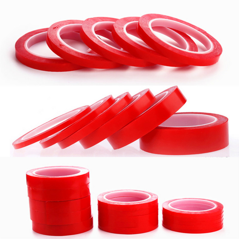 LZN 3m Red Double Sided Adhesive Tape High Strength Acrylic Gel Transparent No Traces Sticker For Car Auto Interior Fixed