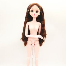 60cm 20 Movable Jointed BJD Dolls 3D Eyes Eyelashes Female Naked Nude Doll Body with Shoes Fashion Dolls Toy For Girls Gift недорого