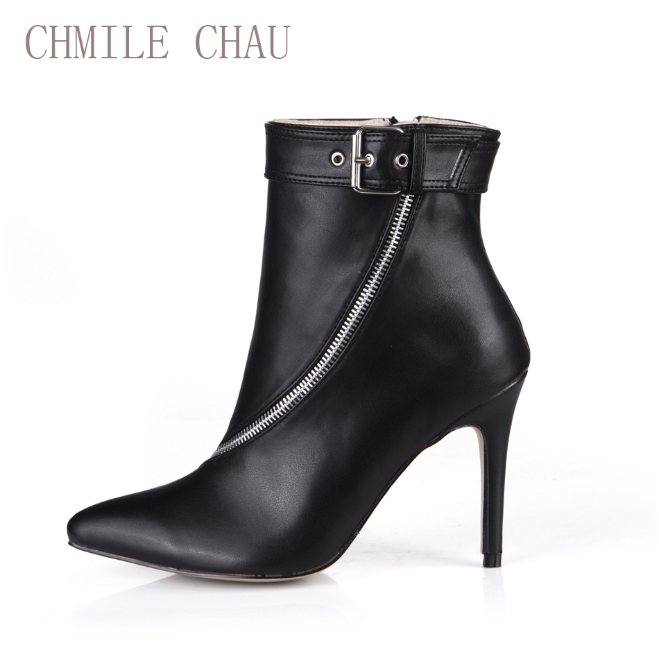 CHMILE CHAU Winter Sexy Party Shoes Women Thin High Heels Buckle Zipper Lady Mid-Calf Boots Botines Mujer Plus Size 70887BT-T1 double buckle cross straps mid calf boots