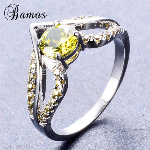 Bamos New V Shape Design Round Multicolor AAA Zircon Birthstone Ring White Gold Filled Best Wedding Rings For Women Lover Gifts Multan