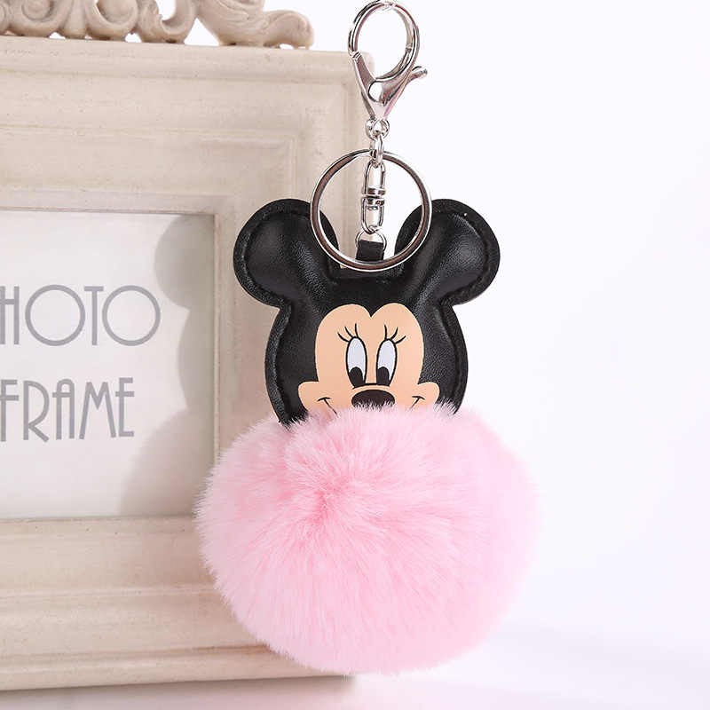 Mickey Mouse Fur Pompom Keychain Leather Merry Christmas Decoration For Home Key Chain Women Keyrings Bag Charm New Year MQ88