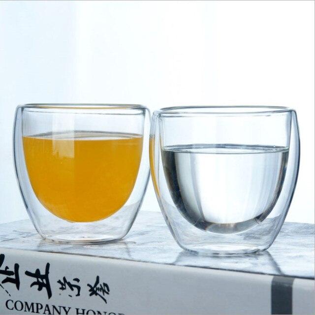 New Double-layer Cup 80 ml/150 ml/250 ml/350 ml/450 ml Cao borosilicate chịu Nhiệt Cốc Thủy Tinh Cốc Uống Cốc Cốc Đôi Tường Đôi Kính