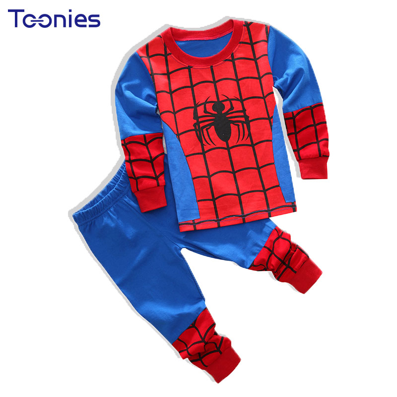 2017 Baby Boys Cotton Nightwear Set Children Cute Cartoon Sport Suit Pajamas 2pc Long Sleeved T-shirt+ Pants Kids Sleepwear 2-8T