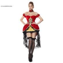 charmian wonderland velvet queen of hearts anime cosplay halloween costume for women off shoulder fantasias costume