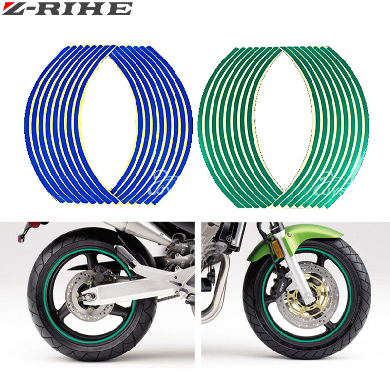16 Strips Wheel Sticker Reflective Rim Stripe Tape Bike Motorcycle Car Fit For 17 18 Inch Blue Orange Yellow Green White Red
