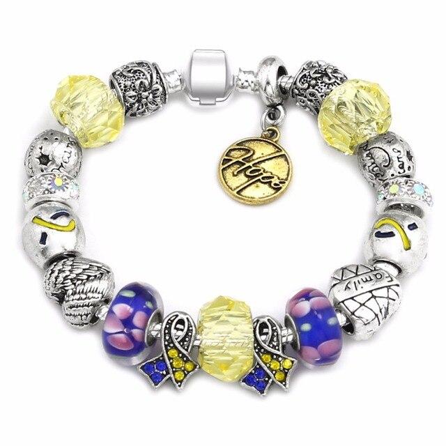 040eac3b55cc € 1.33 41% de DESCUENTO|Nuevo amor y esperanza plata antigua pulseras para  las mujeres CRISTAL Murano cristal encantos cinta de la conciencia del ...