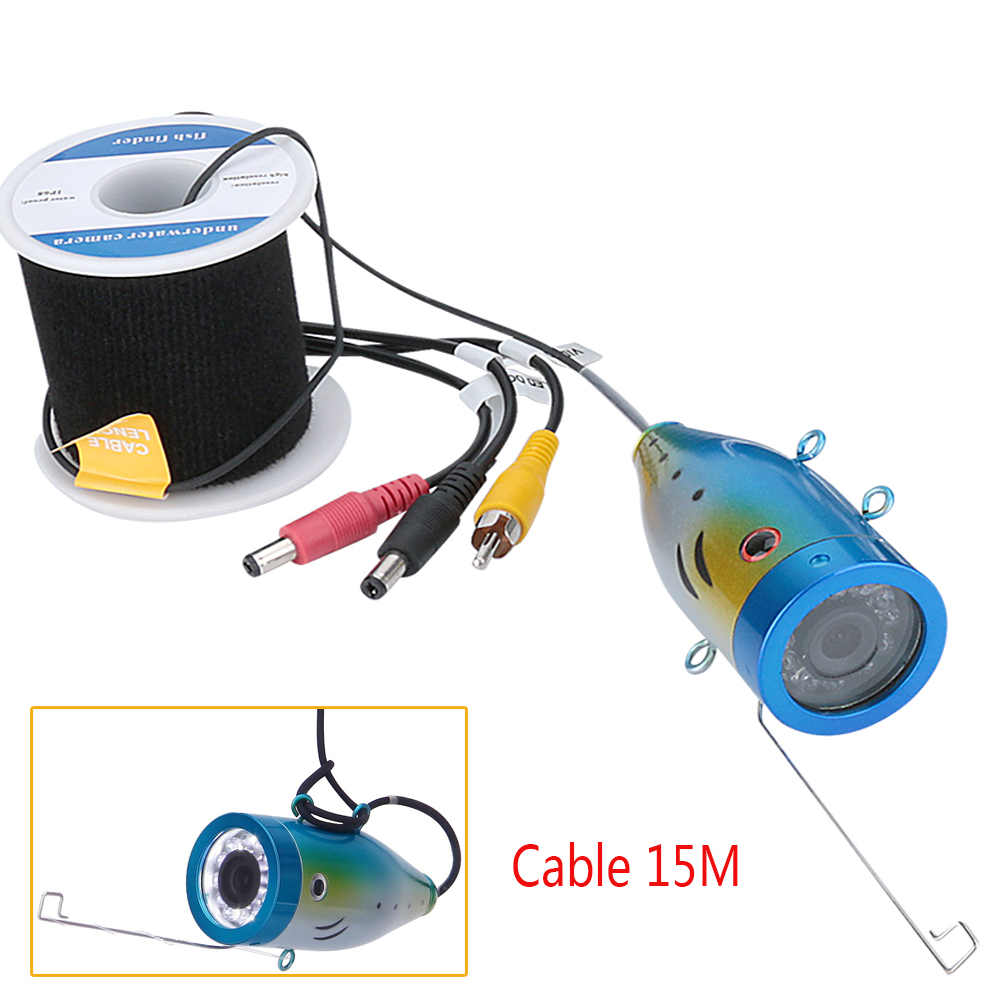 GAMWATER 1000tvl Underwater Fishing Cable Camera with 12 PCS LED white Lamp Lights