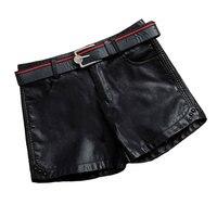 Spring plus size 26 40!Autumn winter plus velvet Women Shorts Sexy Short Pants High Waist PU Leather Shorts Thicken Warm Pants