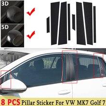 3D / 5D pour VW MK7 Golf 7   Accessoires en Fiber de carbone, cadre de fenêtre automobile ABC pilier Film autocollant, garniture