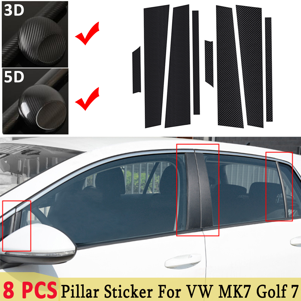 3D / 5D For Volkswagen For VW MK7 <font><b>Golf</b></font> <font><b>7</b></font> Accessories <font><b>Carbon</b></font> <font><b>Fiber</b></font> Style Auto Window Frame ABC Pillar Film Sticker Decals Trim image