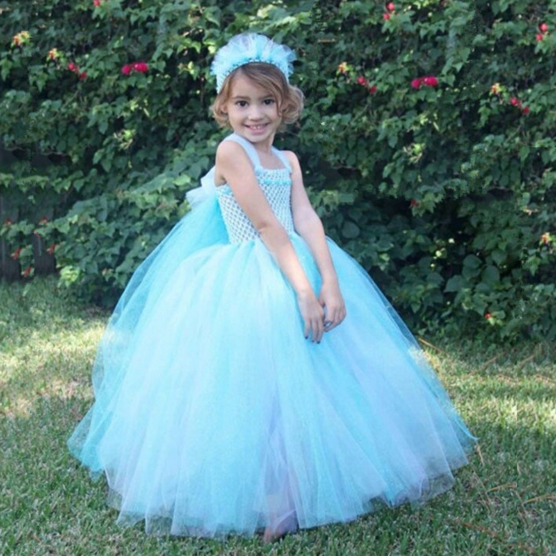 Kids Girls Elsa Dress Princess Tutu Dress Baby Girl Christmas Halloween Cosplay Costume Children Party Festival Birthday Dresses children anna elsa princess birthday dresses cosplay party fancy costume with cape christmas dress child blue red clothes kids